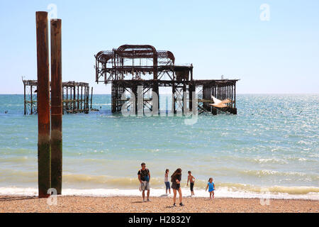 The skeletal remains of the Pavilion and supports of Brighton West Pier, in East Sussex, England, UK - Stock Photo
