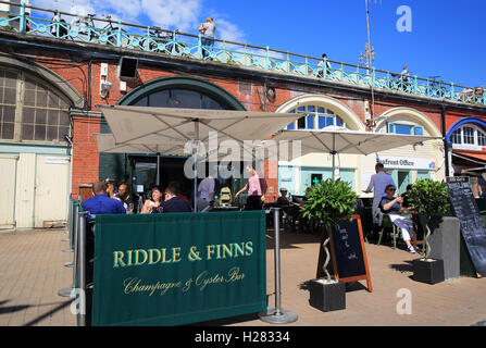 Riddle & Finns on the Beach, serving classic seafood dishes, on Brighton seafront, in East Sussex, England, UK