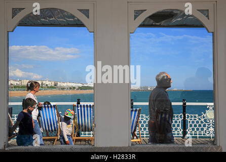 The iconic Palace Pier, in Brighton, on a warm, summer's day, in East Sussex, England, UK - Stock Photo