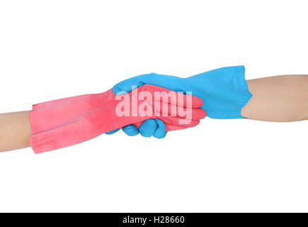hand shake in a rubber gloves isolated on white background - Stock Photo
