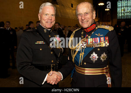 U.S. Marine Corps Commandant General James F. Amos with the Duke of Edinburgh Prince Philip during a reception following - Stock Photo