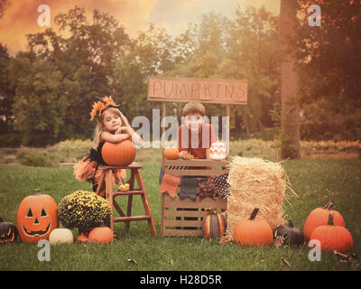 Two children are sitting outside at a wooden stand selling Halloween pumpkins for a holiday activity concept or - Stock Photo