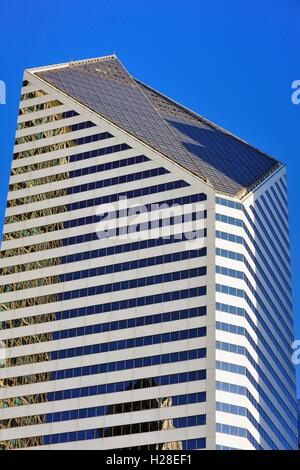 The Crain Communications Building is characterized by its unusual roof and slanted appearance. Chicago, Illinois, - Stock Photo
