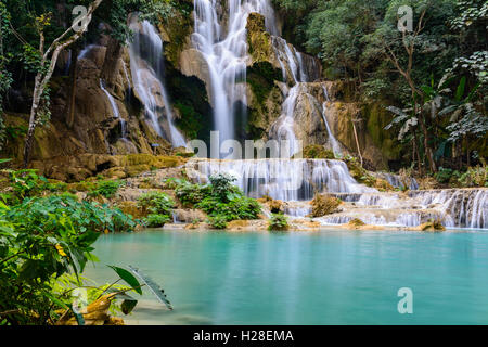 Kuang si water fall in Luang prabang,Laos. - Stock Photo