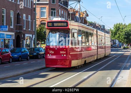 The Hague, the Netherlands - September 24, 2016: tram on a Hague street - Stock Photo