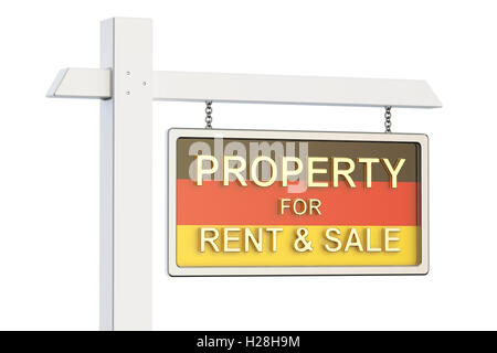 Property for sale and rent in Germany concept. Real Estate Sign, 3D rendering isolated on white background - Stock Photo