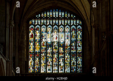 The South Transept window, depicting Christ in Glory.  Lichfield Cathedral, Lichfield, Staffordshire, England, UK - Stock Photo