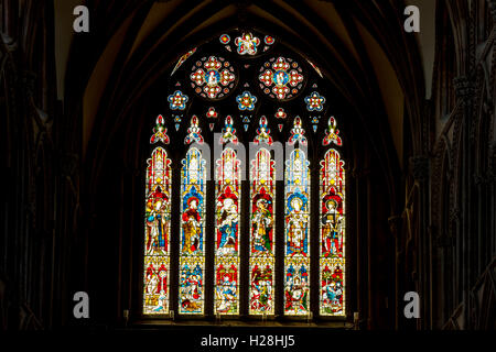 The West Window of Lichfield Cathedral, Lichfield, Staffordshire, England, UK - Stock Photo