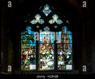 Stained glass window showing damage inflicted during the Civil War, Lichfield Cathedral, Lichfield, Staffordshire, - Stock Photo