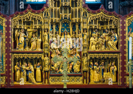 The Reredos in the Lady Chapel, Lichfield Cathedral, Staffordshire, England, UK - Stock Photo