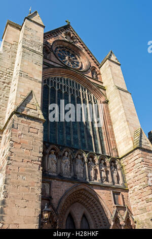 The south transept window and south doorway of Lichfield Cathedral, Lichfield, Staffordshire, England, UK - Stock Photo