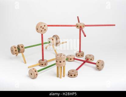Tinker toys on white background - Stock Photo