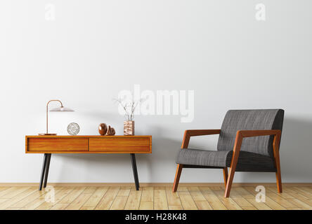 Interior background of living room with wooden side table and armchair 3d rendering - Stock Photo