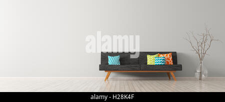 Modern interior of living room with black sofa, vibrant cushions and vase with branch 3d rendering - Stock Photo