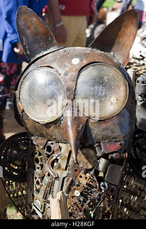 Owl Sculptures made from Spare car parts - Stock Photo