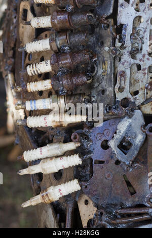 Sculptures made from car parts and old spark plugs - Stock Photo