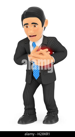 3d business people illustration. Businessman with a heart attack. Isolated white background. - Stock Photo