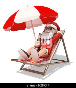 3d christmas people illustration. Santa Claus sunbathing on the beach. Isolated white background. - Stock Photo