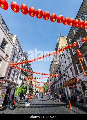 China Town is decorated by Chinese lanterns during Chinese New Year in London - Stock Photo