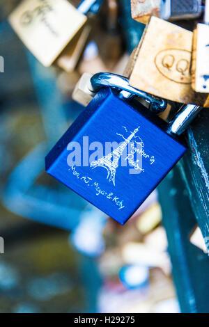 Love locks on the bridge Pont de l'Archevêché, Paris, France - Stock Photo