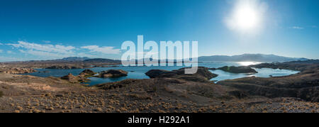 Dry landscape with lake Mead, Lake Mead National Recreation Area, Nevada, USA - Stock Photo
