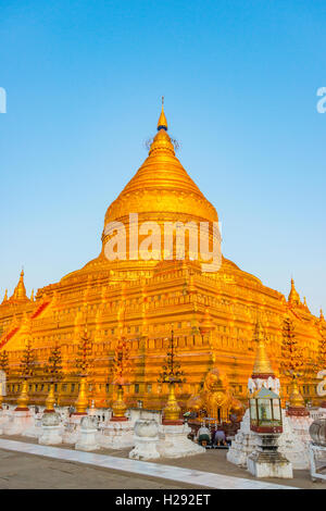 Shwezigon Pagoda, golden stupa, Nyaung U, Mandalay Region, Bagan, Myanmar - Stock Photo