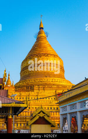 Shwezigon Pagoda, golden stupa, Nyaung U, Mandalay Region, Bagan, Myanmar - Stock Photo