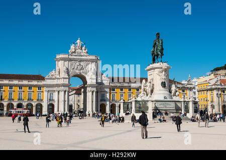 Arco da Vitoria, equestrian statue of King Joseph I at Praça do Comércio, Lisbon, Portugal - Stock Photo