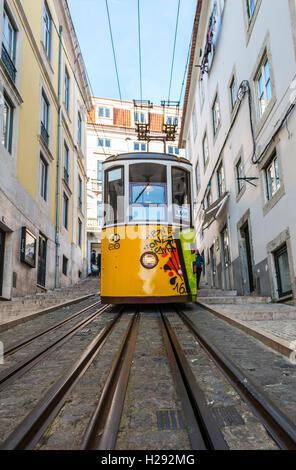 Ascensor da Bica, Bica Funicular, Calçada da Bica Pequena, Lisbon, Portugal - Stock Photo