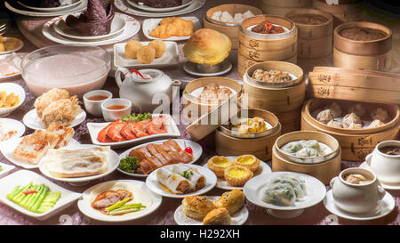 Full table of Chinese Dim Sum - Stock Photo