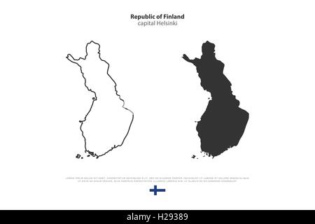 Republic of Finland isolated map and official flag icons. vector Finnish political map illustration. Suomi geographic - Stock Photo