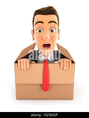 3d businessman coming out of the box, illustration with isolated white background - Stock Photo
