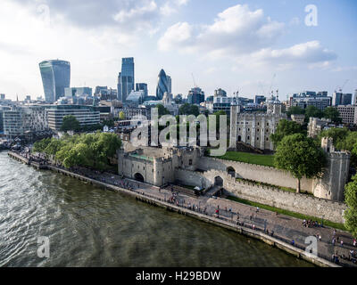 The City of London financial District skyline aerial view 2 - Stock Photo