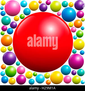 Red ball surrounded by many colorful balls - illustration on white background. - Stock Photo