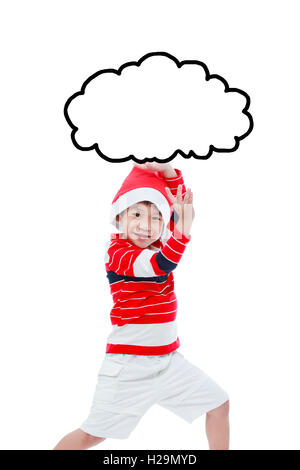 Little asian boy in santa hat ,funny acting isolated on white background - Stock Photo