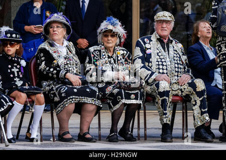 Pearly Kings and Queens Harvest Festival at Guildhall Yard, London England United Kingdom UK - Stock Photo