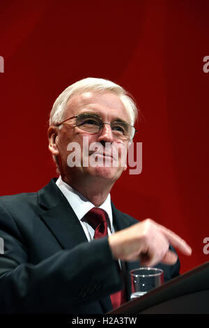 Liverpool, UK. 26th September, 2016. John McDonnell Shadow Chancellor of the Exchequer speaking at the Labour Party - Stock Photo