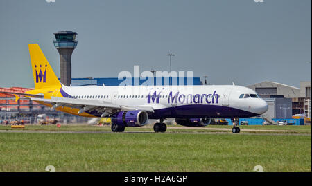 Monarch Airlines Airbus a321 G-ZBAK landing at London Luton Airport LTN - Stock Photo