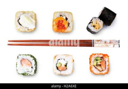 Sushi roll with chopsticks isolated on white background - Stock Photo