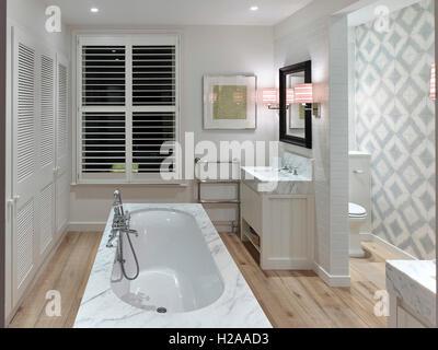 Bathroom. North Kensington Home, London, United Kingdom. Architect: Stiff + Trevillion Architects, 2015. - Stock Photo