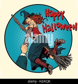 Happy Halloween witch on a broomstick follow me - Stock Photo