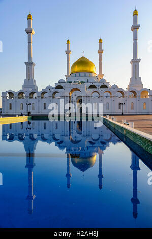 The Nur-Astana Mosque with the pool in foreground, Astana, Kazakhstan, Central Asia - Stock Photo