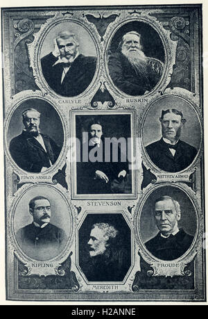The English authors pictured here are, from left to right, top to bottom: Thomas Carlyle (1795-1881), John Ruskin - Stock Photo