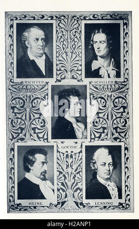 The German authors pictured here are, from left to right, top to bottom: Conrad Richter (1890-1968), Friedrich Schiller - Stock Photo