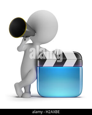 3d small people - director with a clapper - Stock Photo