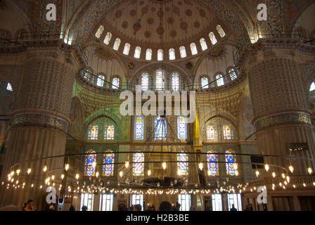 Interior of Blue Mosque, Istanbul, Turkey - Stock Photo