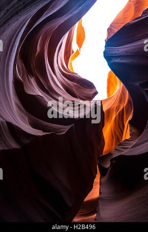 Colourful sandstone formation, Lower Antelope Canyon, Slot Canyon, Page, Arizona, USA - Stock Photo
