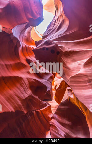 Colourful sandstone formation, incident light, Lower Antelope Canyon, Slot Canyon, Page, Arizona, USA - Stock Photo