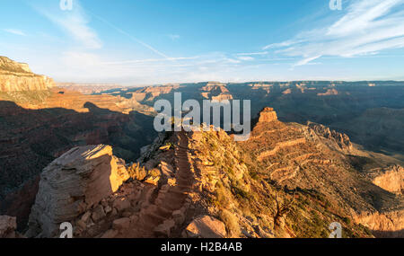 Hiking trail with staircases, South Kaibab Trail, descending from the South Rim, Grand Canyon National Park, Arizona, - Stock Photo