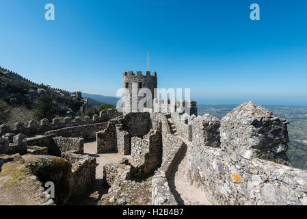 Castelo dos Mouros, Castle of the Moors, Sintra, Portugal - Stock Photo
